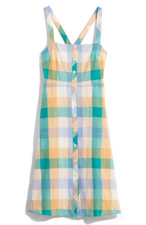 Madewell Rainbow Check Button Front Midi Dress | Nordstrom