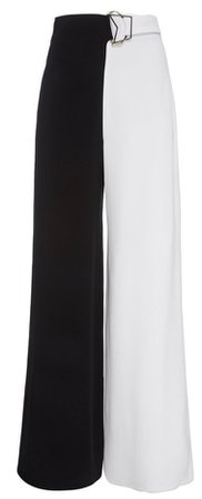 two toned pants black and white