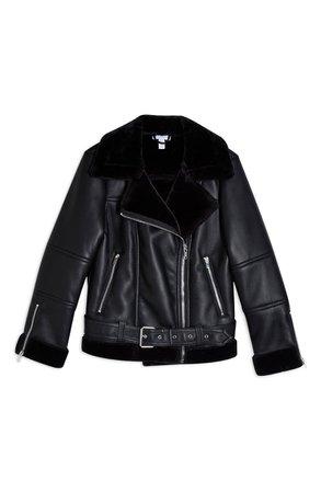 Topshop Cora Faux Leather Biker Jacket (Petite) black