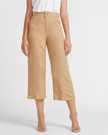 Super High Waisted Linen-Blend Cropped Wide Leg Utility Pant