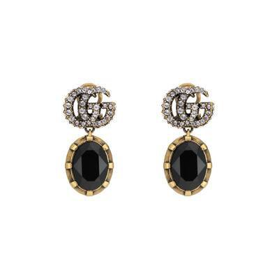 Double G earrings with black crystals | GUCCI® UK