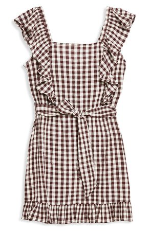 Topshop Gingham Ruffle Minidress brown