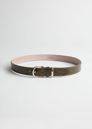 Croco Leather Belt - Green Croc - Belts - & Other Stories