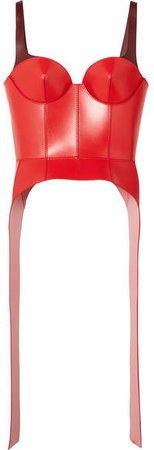 Two-tone Leather Bustier Top - Red