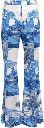 Twill-trimmed Printed Silk-blend Flared Pants