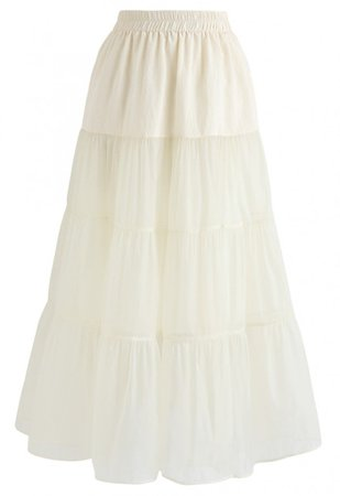 Lightweight Organza Midi Skirt in Cream - Skirt - BOTTOMS - Retro, Indie and Unique Fashion
