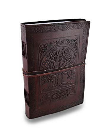 "Handmade Large 10"" Embossed Leather Journal Celtic Tree Of Life blank personal Diary notebook refillable gift: Amazon.ca: Gateway"