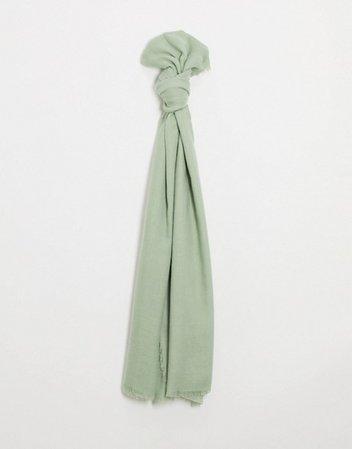 ASOS DESIGN lightweight scarf with raw edge in sage | ASOS