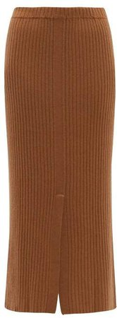 Split Front Ribbed Cashmere Midi Skirt - Womens - Beige