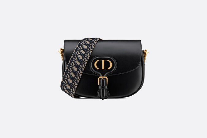 Large Dior Bobby Bag Black Box Calfskin with Blue Dior Oblique Embroidered Strap - Bags - Women's Fashion | DIOR