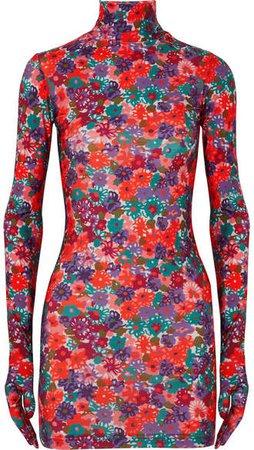 Floral-print Stretch-jersey Mini Dress - Red