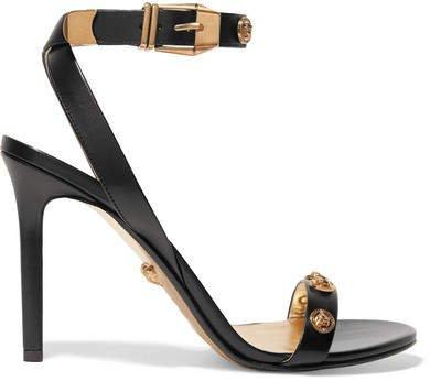 Embellished Leather Sandals - Black