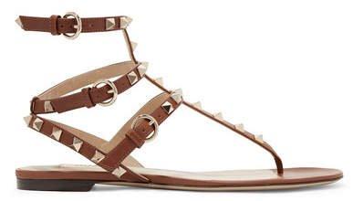 Garavani The Rockstud Leather Sandals - Brown