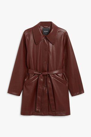 Faux leather jacket - Burgundy - Jackets - Monki WW