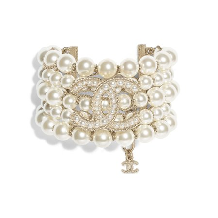 Metal, Glass Pearls & Glass Gold & Pearly White Bracelet | CHANEL