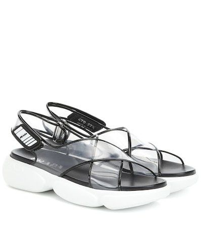 PVC and leather sandals