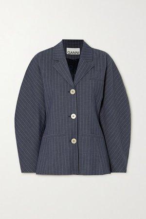 Pinstriped Twill Blazer - Navy