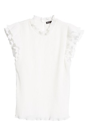 Gibson x Glam Steph Taylor Jackson Pleated Ruffle Sleeve Blouse (Nordstrom Exclusive) white