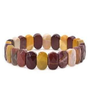 8mm Yellow and Brown Mookaite Jasper Natural Agate Oval Stone Bracelet: Buy 8mm Yellow and Brown Mookaite Jasper Natural Agate Oval Stone Bracelet Online in India on Snapdeal