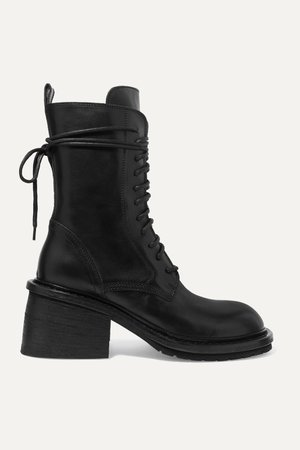 Black Lace-up leather ankle boots | Ann Demeulemeester | NET-A-PORTER