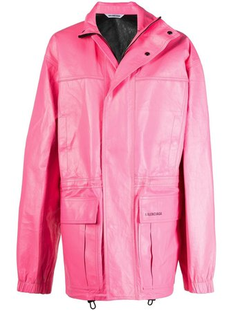 Shop pink BALENCIAGA oversized logo print light parka coat with Express Delivery - Farfetch