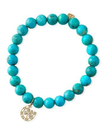 Sydney Evan 14k Diamond Lucky Charm & Turquoise Bracelet