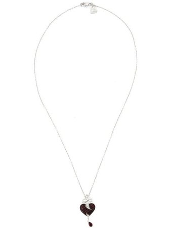 Metallic & red Stephen Webster sword ruby heart pendant necklace WP596 - Farfetch