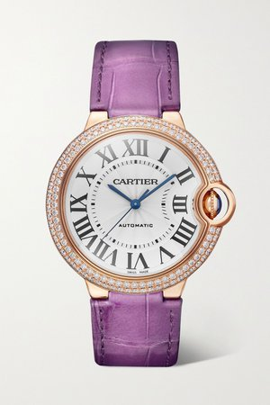 Rose gold Ballon Bleu de Cartier Automatic 36mm 18-karat pink gold, alligator and diamond watch | Cartier | NET-A-PORTER