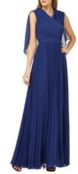 Capelet Sleeves Pleated Evening Dress