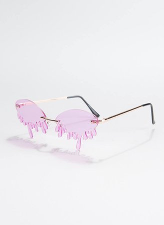 Drip It Like It's Hot Melting Sunglasses GREEN PURPLE YELLOW TURQ - GoJane.com