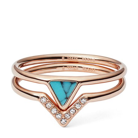 Turquoise Stacked Ring - Fossil