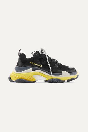 Black Triple S logo-embroidered leather, nubuck and mesh sneakers   Balenciaga   NET-A-PORTER