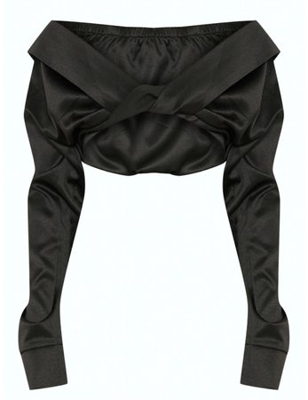 PLT Black Bardot Twist Front Crop Blouse