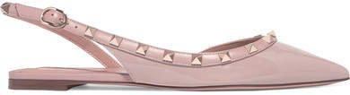 Garavani The Rockstud Patent-leather Slingback Flats - Pastel pink