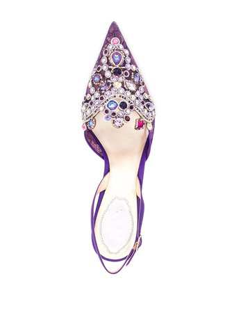 René Caovilla Embellishes sling-back Shoes - Farfetch