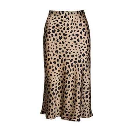 Pajamasea High Waist Leopard Midi Skirt Hidden Elasticized Waistband Silk Satin Skirts at Amazon Women's Clothing store
