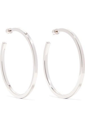 "Jennifer Fisher   Shane 2"" silver-plated hoop earrings   NET-A-PORTER.COM"