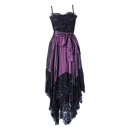 1970's Yves Saint Laurent Black Sequin-Lace and Purple Silk Asymmetric Dress For Sale at 1stdibs