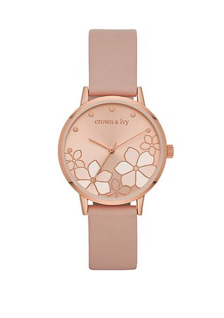 Crown & Ivy™ Ambrose Rose Gold and Blush Flower Dial Strap Watch