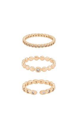 Ettika Stacking Ring Set in Gold | REVOLVE