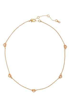 kate spade new york pavé loves me knot charm necklace | Nordstrom
