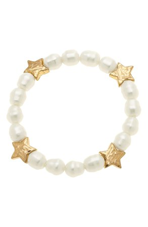 Canvas Jewelry Sarah Star Set of 2 Imitation Pearl Stretch Bracelets | Nordstrom
