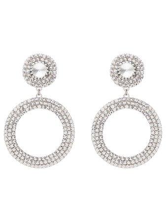 Alessandra Rich Embellished Drop Hoop Earrings Aw19 | Farfetch.com