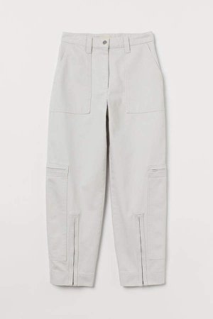 Cotton Cargo Pants - White