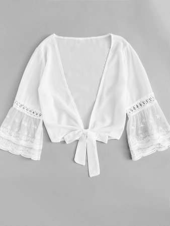Sheer Mesh Sleeve Knot Front Top | SHEIN