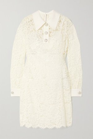 Crepe-trimmed Corded Lace Mini Dress - White