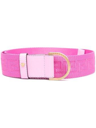 Shop pink Versace Greca ribbon belt