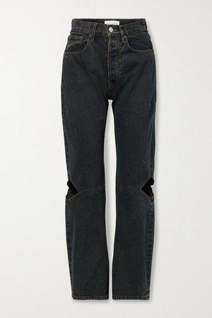 Cowgirl Cutout High-rise Straight-leg Jeans - Black