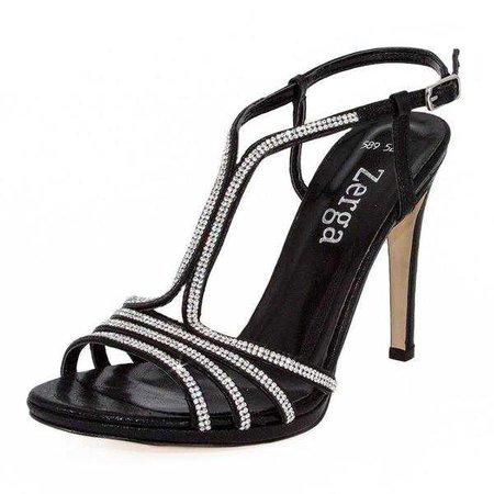 Sandals | Shop Women's Black Rhinestone Stiletto Sandals at Fashiontage | 01240236