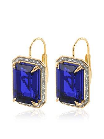 Alison Lou 14kt yellow gold sapphire drop earrings - FARFETCH